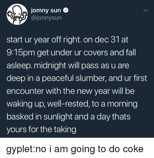 Fall, New Year's, and Target: jomny sun  @jonnysun  start ur year off right. on dec 31 at  9:15pm get under ur covers and fall  asleep.midnight will pass as u are  deep in a peaceful slumber, and ur first  encounter with the new year will be  waking up, well-rested, to a morning  basked in sunlight and a day thats  yours for the taking gyplet:no i am going to do coke