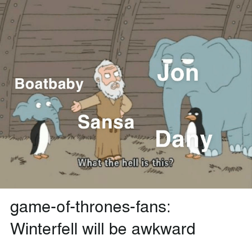 Game of Thrones, Tumblr, and Awkward: Jon  Boatbaby  Sansa  What the hell is this? game-of-thrones-fans:  Winterfell will be awkward