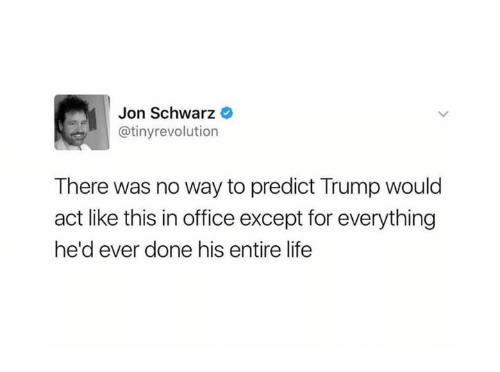 Life, Office, and Revolution: Jon Schwarz  @tiny revolution  There was no way to predict Trump would  act like this in office except for everything  he'd ever done his entire life