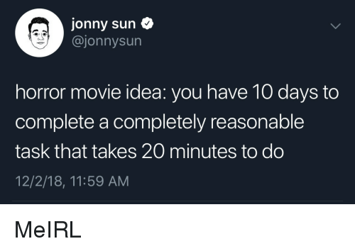 Movie, MeIRL, and Idea: Jonny sun  @jonnysun  horror movie idea: you have 10 days to  complete a completely reasonable  task that takes 20 minutes to do  12/2/18, 11:59 AM MeIRL