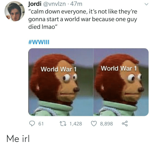"Its Not: Jordi @vnvlzn · 47m  ""calm down everyone, it's not like they're  gonna start a world war because one guy  died Imao""  #WWIII  World War 1  World War 1  27 1,428  61  8,898 Me irl"