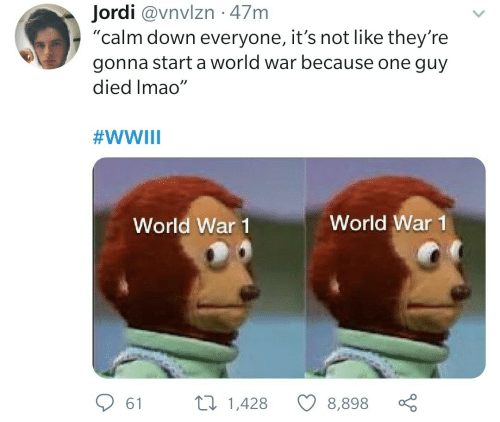 "world war: Jordi @vnvlzn · 47m  ""calm down everyone, it's not like they're  gonna start a world war because one guy  died Imao""  #WWIII  World War 1  World War 1  27 1,428  61  8,898"