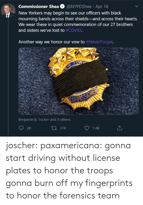 team: joscher:  paxamericana: gonna start driving without license plates to honor the troops gonna burn off my fingerprints to honor the forensics team