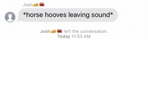 Horse, Today, and Sound: Josh as  *horse hooves leaving sound*  Josh  left the conversation.  Today 11:53 AM