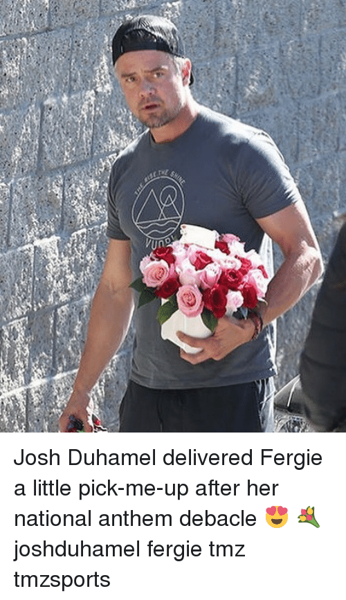 Memes, National Anthem, and Fergie: Josh Duhamel delivered Fergie a little pick-me-up after her national anthem debacle 😍 💐 joshduhamel fergie tmz tmzsports