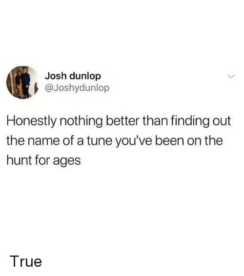 Memes, True, and Been: Josh dunlop  @Joshydunlop  Honestly nothing better than finding out  the name of a tune you've been on the  hunt for ages True