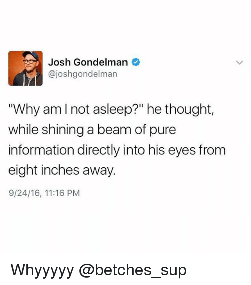 "Information, Girl Memes, and Thought: Josh Gondelman  @joshgondelman  ""Why amlnot asleep?"" he thought,  while shining a beam of pure  information directly into his eyes from  eight inches away  9/24/16, 11:16 PM Whyyyyy @betches_sup"