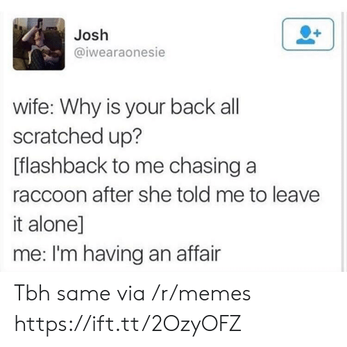 Being Alone, Memes, and Tbh: Josh  @iwearaonesie  wife: Why is your back all  scratched up?  [flashback to me chasing a  raccoon after she told me to leave  it alone]  me: I'm having an affair Tbh same via /r/memes https://ift.tt/2OzyOFZ