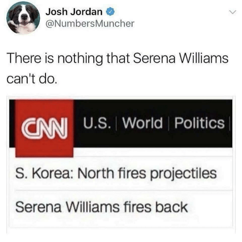 Politics, Serena Williams, and Jordan: Josh Jordan  @NumbersMuncher  There is nothing that Serena Williams  can't do.  CANI U.S. World Politics  S. Korea: North fires projectiles  Serena Williams fires back