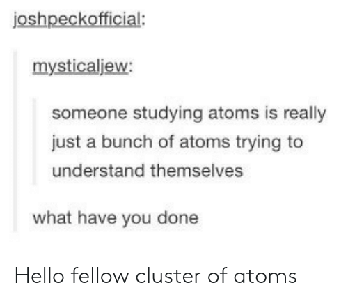 Hello, Cluster, and You: joshpeckofficial:  mysticaljew:  someone studying atoms is really  just a bunch of atoms trying to  understand themselves  what have you done Hello fellow cluster of atoms