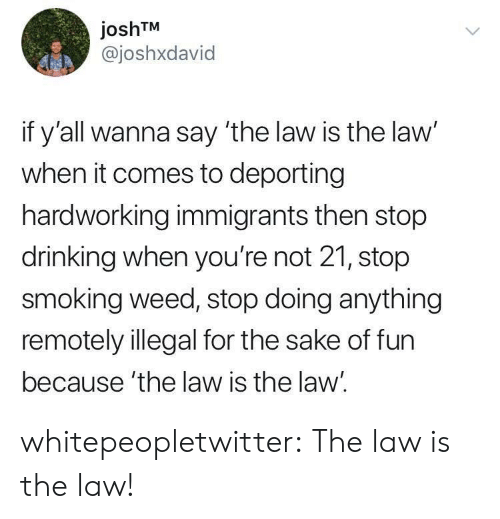 Drinking, Smoking, and Tumblr: joshTM  @joshxdavid  if y'all wanna say 'the law is the law'  when it comes to deporting  hardworking immigrants then stop  drinking when you're not 21, stop  smoking weed, stop doing anything  remotely illegal for the sake of fun  because 'the law is the law. whitepeopletwitter:  The law is the law!