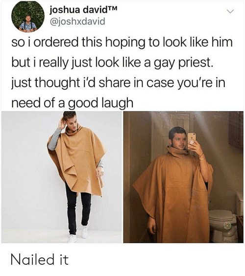 Nailed: joshua davidTM  @joshxdavid  so i ordered this hoping to look like him  but i really just look like a gay priest.  just thought i'd share in case you're in  need of a good laugh Nailed it