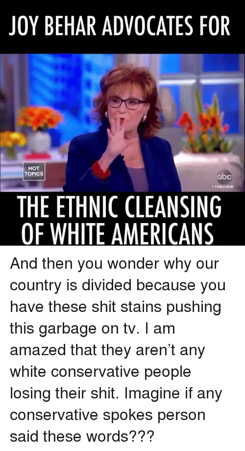 Divided: JOY BEHAR ADVOCATES FOR  HOT  TOPICS  abc  THEVIEW  THE ETHNIC CLEANSING  OF WHITE AMERICANS And then you wonder why our country is divided because you have these shit stains pushing this garbage on tv. I am amazed that they aren't any white conservative people losing their shit. Imagine if any conservative spokes person said these words???