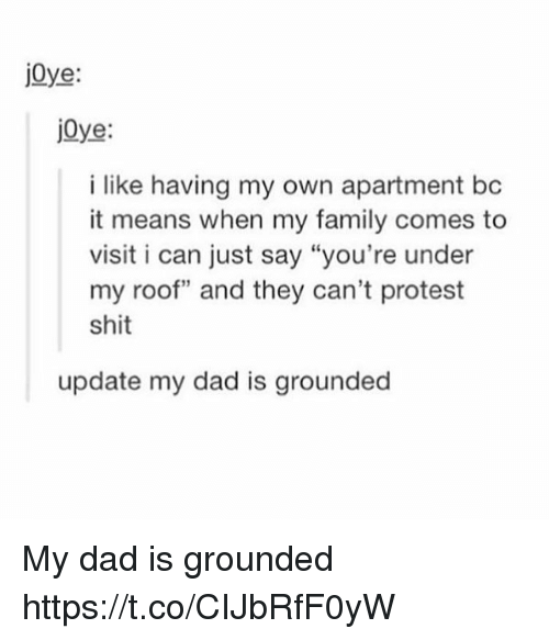 """Dad, Family, and Protest: jOye:  jOye  j0ye  i like having my own apartment bc  it means when my family comes to  visit i can just say """"you're under  my roof"""" and they can't protest  shit  update my dad is grounded My dad is grounded https://t.co/CIJbRfF0yW"""