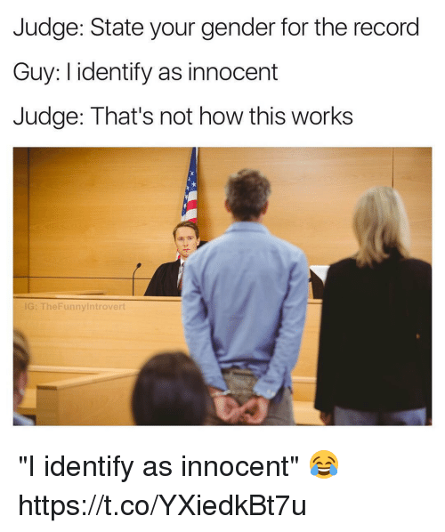 """Memes, Record, and 🤖: Judge: State your gender for the record  Guy: I identify as innocent  Judge: That's not how this works  G: TheFunnylntrovert """"I identify as innocent"""" 😂 https://t.co/YXiedkBt7u"""