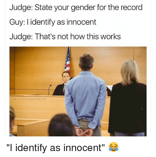 """Memes, Record, and 🤖: Judge: State your gender for the record  Guy: I identify as innocent  Judge: That's not how this works  G: TheFunnyintrovert """"I identify as innocent"""" 😂"""