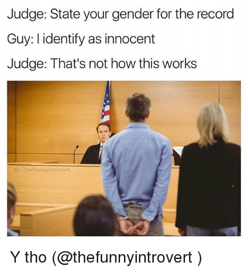 Funny, Record, and How: Judge: State your gender for the record  Guy: l identify as innocent  Judge: That's not how this works  G: TheFunnyintrovert Y tho (@thefunnyintrovert )