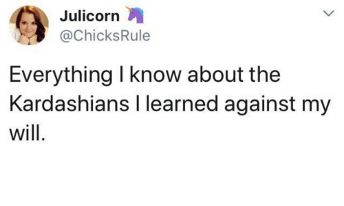 Kardashians, The Kardashians, and Everything: Julicorrn  @ChicksRule  Everything l know about the  Kardashians I learned against my