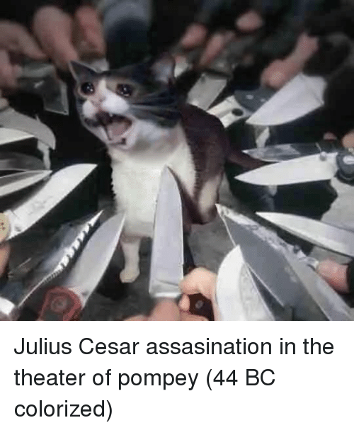 Pompey, Cesar, and  Theater: Julius Cesar assasination in the theater of pompey (44 BC colorized)