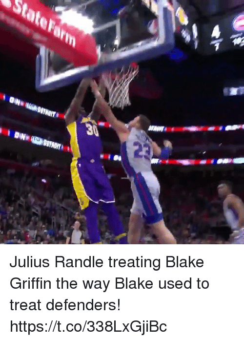 Blake Griffin, Memes, and 🤖: Julius Randle treating Blake Griffin the way Blake used to treat defenders!  https://t.co/338LxGjiBc