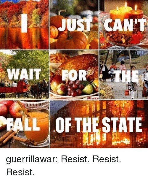 Tumblr, Blog, and The State: JUS CANT  LL  OF THE STATE guerrillawar:  Resist. Resist. Resist.