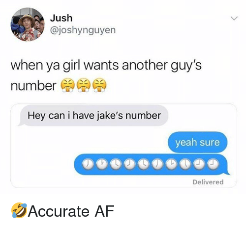 When Ya Girl: Jush  @joshynguyen  when ya girl wants another guy's  number  Hey can i have jake's number  yeah sure  Delivered 🤣Accurate AF