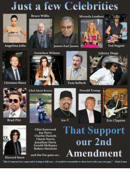 Brad Pitt, Charlie, and Chuck Norris: Just a few Celebrities  Bruce Willis  MMiranda Lambert  Angelina Jolie  James Earl Jonesw  Ted Nugent  Gretchen Wilson  Johnny Depp  Christian Slater  Tom Selleck  Chef Alton Brown  Donald Trump  Brad Pitt  Ice-T  Eric Clapton  That Support  our 2nd  Clint Eastwoadd  Charlie Daniels  Chuck Norris  ER  Gerald Mc Raney  Robert Heinlein  LVE  IN  Amendment  and the list goes on  Howard Stern  Bat ose has a gan and is ying to killn.i ld be reancazble te hoot bark wiih your ow pnabi Lami