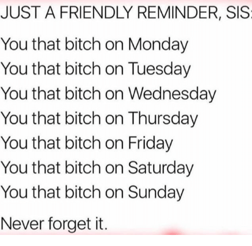 Bitch, Friday, and Wednesday: JUST A FRIENDLY REMINDER, SIS  You that bitch on Monday  You that bitch on Tuesday  You that bitch on Wednesday  You that bitch on Thursday  You that bitch on Friday  You that bitch on Saturday  You that bitch on Sunday  Never forget it.