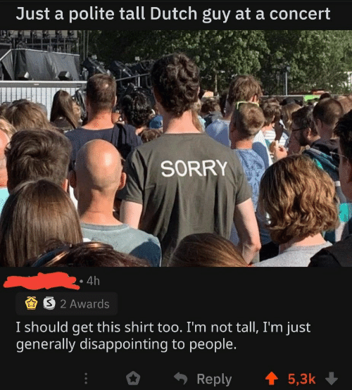 Sorry, Dutch Language, and Shirt: Just a polite tall Dutch guy at a concert  SORRY  4h  S2 Awards  I should get this shirt too. I'm not tall, I'm just  generally disappointing to people.  t 5,3k  Reply