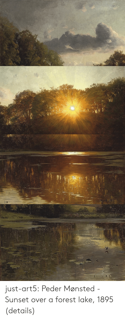 forest: just-art5:  Peder Mønsted - Sunset over a forest lake, 1895 (details)