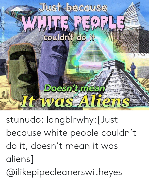 Target, Tumblr, and White People: Just because  couldnt do  Doesng mean stunudo:  langblrwhy:[Just because white people couldn't do it, doesn't mean it was aliens]  @ilikepipecleanerswitheyes