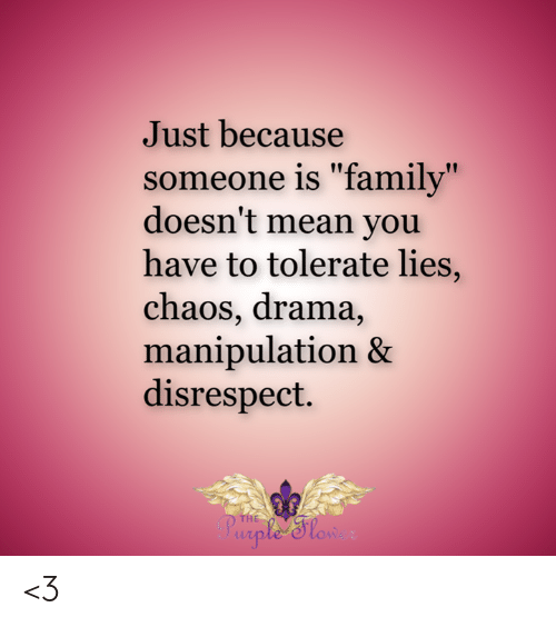 """Family, Memes, and Mean: Just because  someone is """"family""""  doesn't mean you  have to tolerate lies,  chaos, drama,  manipulation &  disrespect.  THE  Purple 'Slow <3"""