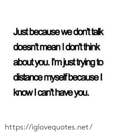 Distance: Just because we dont talk  doesnt meanI don't think  aboutyou. I'mjust tying to  distance myself becausel  knowI canthave you https://iglovequotes.net/