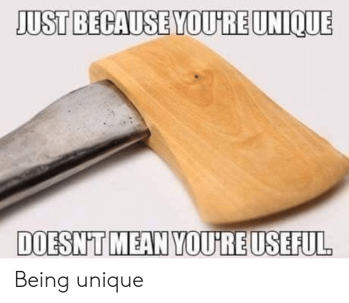 Mean, Youre, and Just: JUST BECAUSE YOURE UNIQUE  DOESN'T MEAN YOUREUSEFUL Being unique