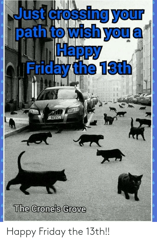 Friday the 13th: Just crossing your  pathto wish you  Нарру  bFriday the 13th  66551  The Crone's Grove Happy Friday the 13th!!