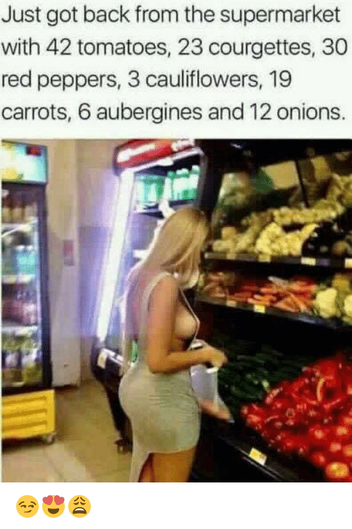 Back, Got, and Red: Just got back from the supermarket  with 42 tomatoes, 23 courgettes, 30  red peppers, 3 cauliflowers, 19  carrots, 6 aubergines and 12 onions. 😏😍😩