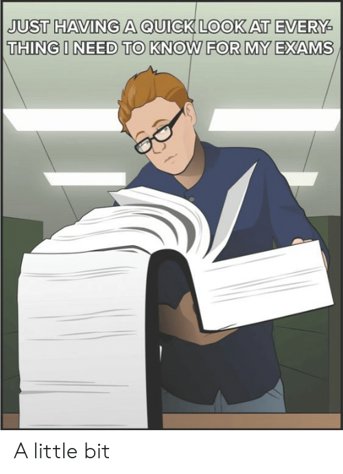 Thing, For, and Look: JUST HAVINGA QUICK LOOK AT EVERY  THING I NEED TO KNOW FOR MY EXAMS A little bit