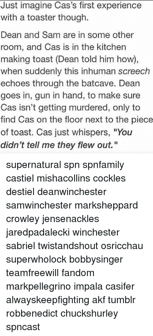 """batcave: Just imagine Cas's first experience  with a toaster though.  Dean and Sam are in some other  room, and Cas is in the kitchen  making toast (Dean told him how),  when suddenly this inhuman screech  echoes through the batcave. Dean  goes in, gun in hand, to make sure  Cas isn't getting murdered, only to  find Cas on the floor next to the piece  of toast. Cas just whispers, """"You  didn't tell me they flew out."""" supernatural spn spnfamily castiel mishacollins cockles destiel deanwinchester samwinchester marksheppard crowley jensenackles jaredpadalecki winchester sabriel twistandshout osricchau superwholock bobbysinger teamfreewill fandom markpellegrino impala casifer alwayskeepfighting akf tumblr robbenedict chuckshurley spncast"""
