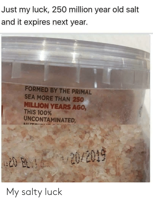 Salt And: Just my luck, 250 million year old salt  and it expires next year.  FORMED BY THE PRIMAL  SEA MORE THAN 250  MILLION YEARS AGo,  THIS 100%  UNCONTAMINATED, My salty luck