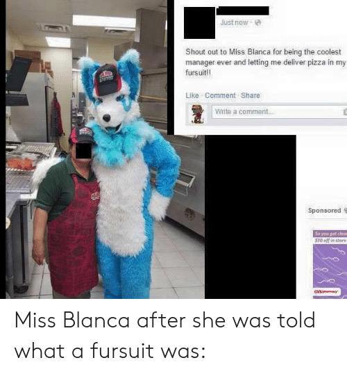 Gif, Pizza, and Tumblr: Just now  Shout out to Miss Blanca for being the coolest  manager ever and letting me deliver pizza in my  fursuit!!  Like Comment Share  Write a comment  Sponsored S  So you get close  510 off in store Miss Blanca after she was told what a fursuit was: