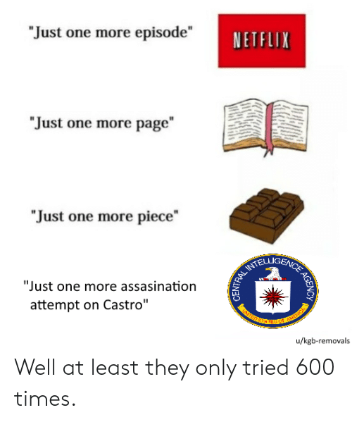"Netflix, History, and Page: ""Just one more episode""  NETFLIX  ""Just one more page""  ""Just one more piece  ""Just one more assasination  attempt on Castro""  u/kgb-removals  AGENCY  ENTRAL Well at least they only tried 600 times."