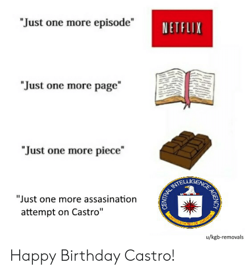 "Birthday, Netflix, and Happy Birthday: ""Just one more episode""  NETFLIX  ""Just one more page  ""Just one more piece""  TELLIGENC'E  ""Just one more assasination  attempt on Castro""  u/kgb-removals Happy Birthday Castro!"