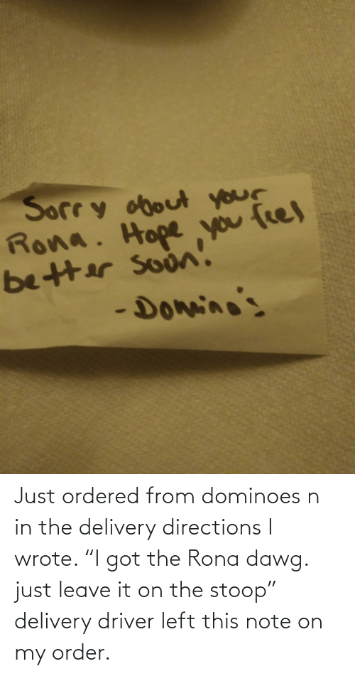 "dawg: Just ordered from dominoes n in the delivery directions I wrote. ""I got the Rona dawg. just leave it on the stoop"" delivery driver left this note on my order."