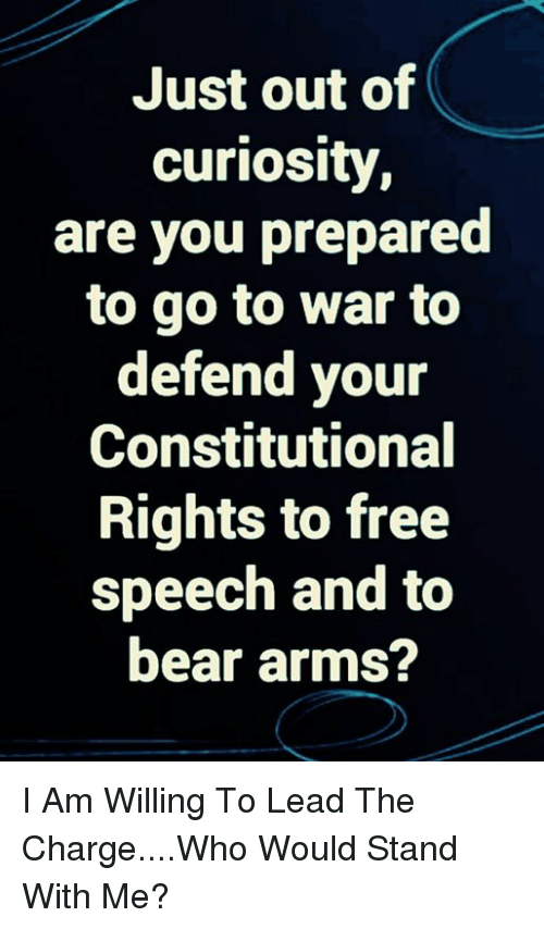 Memes, Bear, and Free: Just out of  curiosity  are you prepared  to go to war to  defend your  Constitutional  Rights to free  speech and to  bear arms? I Am Willing To Lead The Charge....Who Would Stand With Me?