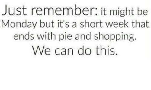 Shopping, Monday, and Pie: Just remember: it might be  Monday but it's a short week that  ends with pie and shopping.  We can do this