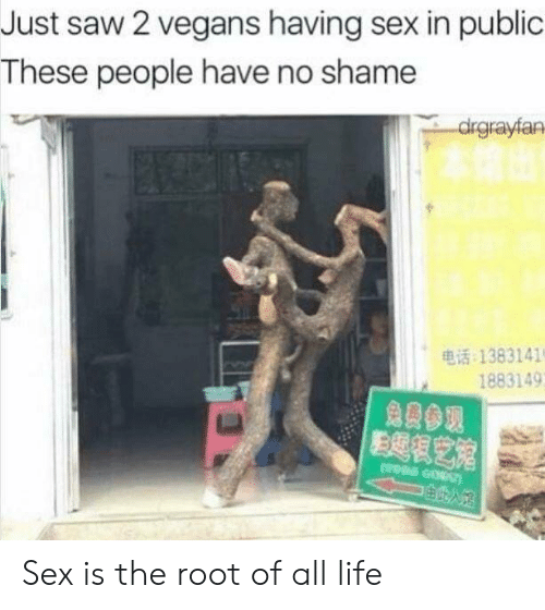 saw 2: Just saw 2 vegans having sex in public  These people have no shame  drgrayfan  电话:1383141  1883149  免费参观 Sex is the root of all life