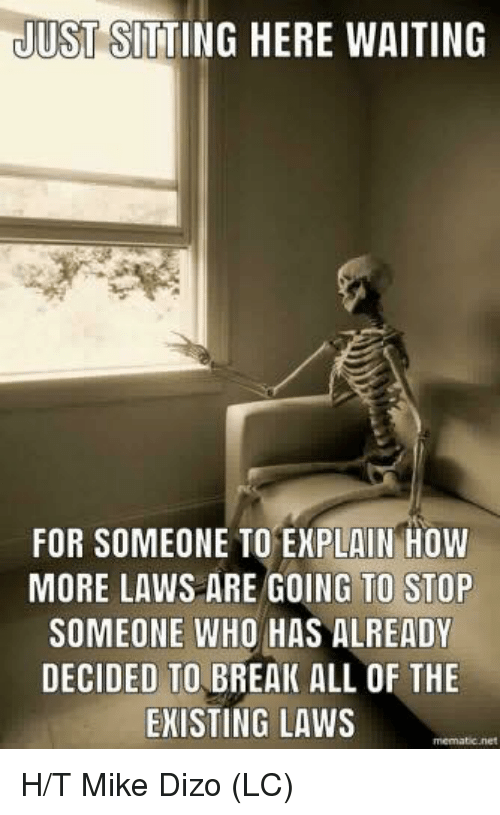 Memes, Break, and Waiting...: JUST SITTING HERE WAITING  FOR SOMEONE TO EXPLAIN HOW  MORE LAWS ARE GOING TO STOP  SOMEONE WHO HAS ALREADY  DECIDED TO BREAK ALL OF THE  EKISTING LAWS H/T Mike Dizo (LC)