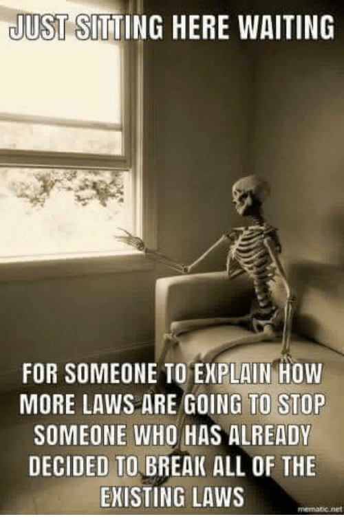 Memes, Break, and Waiting...: JUST SITTING HERE WAITING  FOR SOMEONE TO EXPLAIN HOW  MORE LAWS ARE GOING TO STOP  SOMEONE WHO HAS ALREADY  DECIDED TO BREAK ALL OF THE  EKISTING LAWS  memabic.net