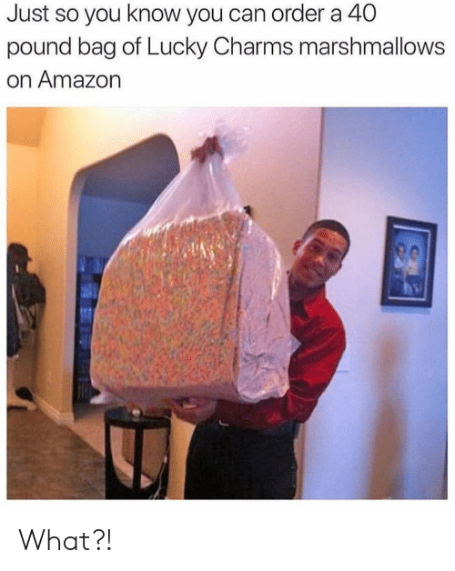 Amazon, Memes, and 🤖: Just so you know you can order a 40  pound bag of Lucky Charms marshmallows  on Amazon What?!