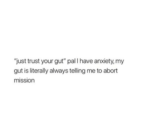 """Anxiety, Pal, and Trust: """"just trust your gut"""" pal I have anxiety, my  gut is literally always telling me to abort  mission"""